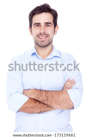 Portrait of a handsome man, isolated over a white background - stock photo