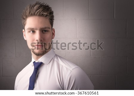 Portrait of a handsome man shirt and tie - stock photo