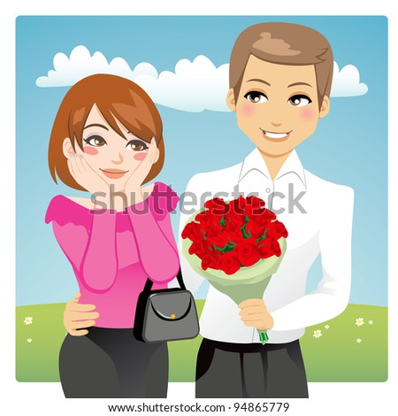 Portrait of a handsome man surprising a beautiful woman giving a red rose bouquet as love present - stock photo