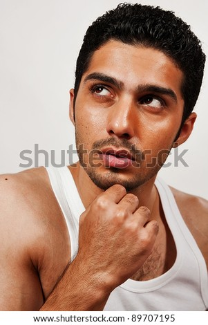 portrait of a handsome man wearing vest, Indian man with a muscular body