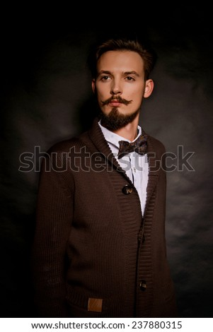 Portrait of a handsome man with a mustache