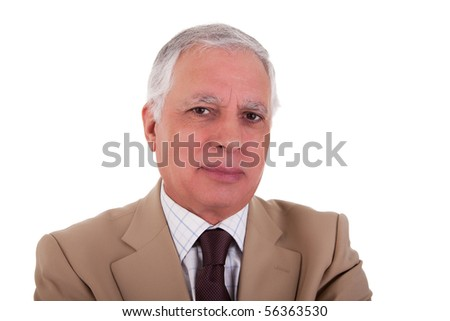 Portrait of a handsome mature businessman on white background, studio shot