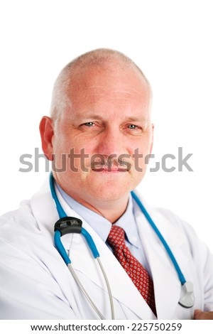 Portrait of a handsome, mature medical doctor looking friendly but serious.  White background - stock photo