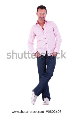 Portrait of a handsome middle-age man, isolated on white background. Studio shot - stock photo