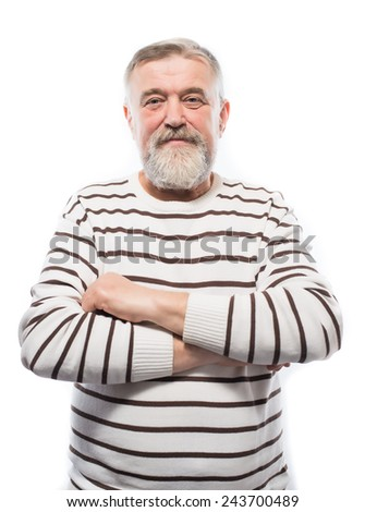 Portrait of a handsome older man with a beard - stock photo