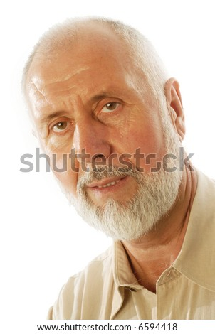 Portrait of a handsome senior man; isolated on white