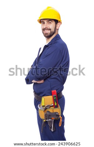 Portrait of a handsome smiling contractor, isolated on white background - stock photo