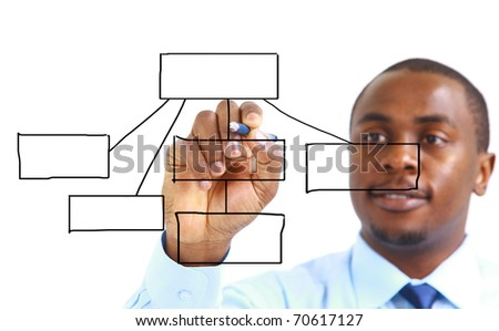 Portrait of a handsome successful business man busy working - stock photo