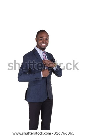 Portrait of a handsome teenager in a suit isolated on white - stock photo