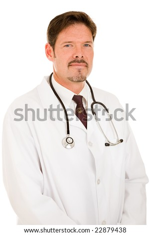 Portrait of a handsome, trustworthy doctor in a white lab coat.  Isolated on white. - stock photo