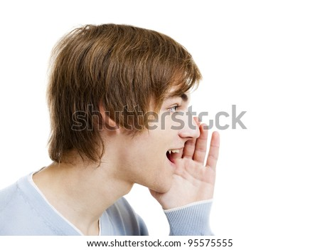 Portrait of a handsome young man calling someone, isolated over a white background - stock photo