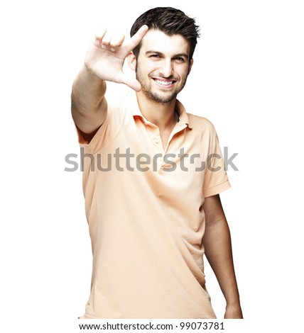portrait of a handsome young man gesturing over white background - stock photo