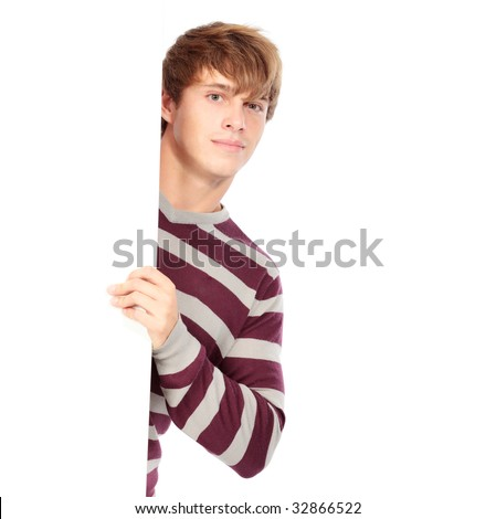 Portrait of a handsome young man holding a billboard. Shot in a studio. - stock photo