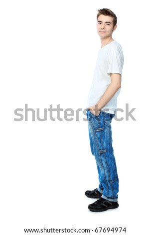 Portrait of a handsome young man. Isolated over white background. - stock photo