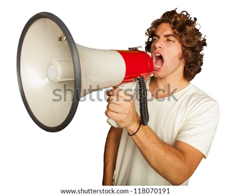 Portrait Of A Handsome Young Man Shouting With Megaphone On White Background - stock photo