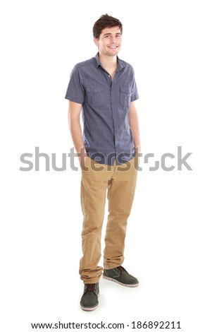 Portrait of a handsome young man smiling against white background - stock photo
