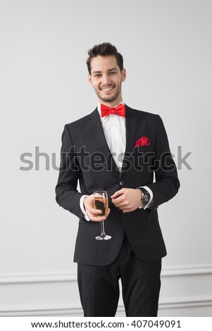 Portrait Handsome Young Man Stylish Hairstyle Stock Photo ...