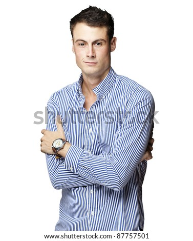 portrait of a handsome young man thinking over white background - stock photo