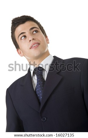Portrait of a handsome young man, wearing a suit. Isolated on white. Studio shot. - stock photo