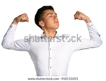 portrait of a handsome young man winning - stock photo