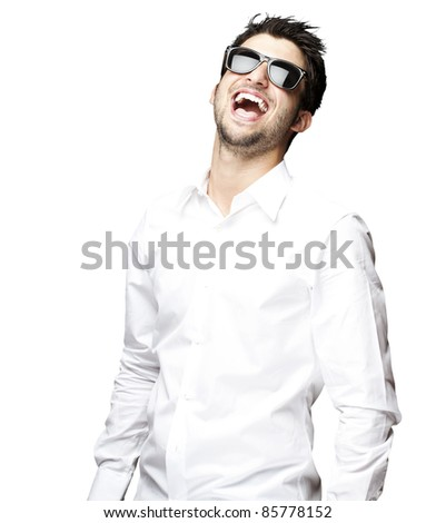 portrait of a handsome young man with sunglasses enjoying over white background - stock photo