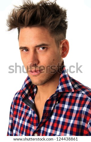 Portrait of a handsome young model. - stock photo