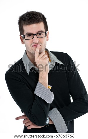 Portrait of a handsome young student isolated over white background - stock photo