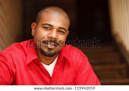 Portrait of a happy African American man - stock photo
