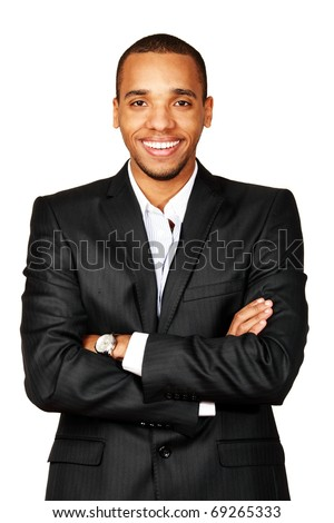 Portrait of a happy African-American young businessman isolated over white background - stock photo