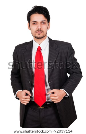 portrait of a happy and confident Arab Businessman, biracial businessman isolated on white