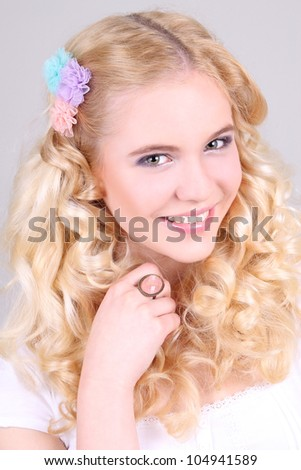 Portrait of a happy attractive girl - stock photo