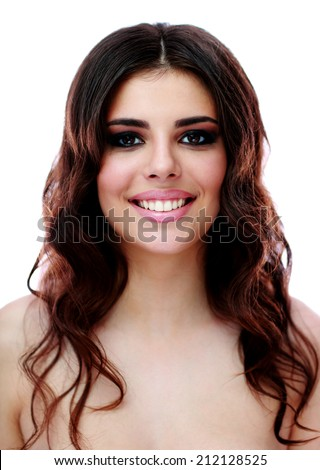 Portrait of a happy attractive woman over white background