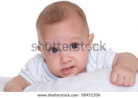 portrait of a happy baby  on a white