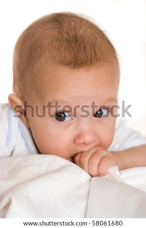 portrait of a happy baby  on a white background