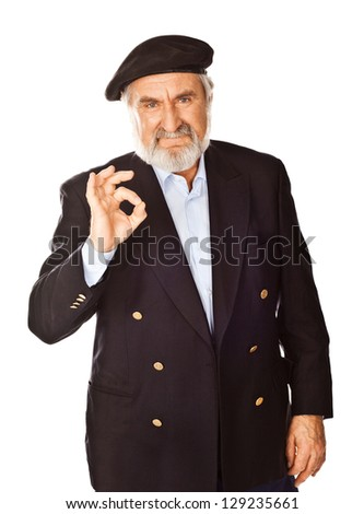 Portrait of a happy bearded senior man showing okay gesture, isolated over white background - stock photo