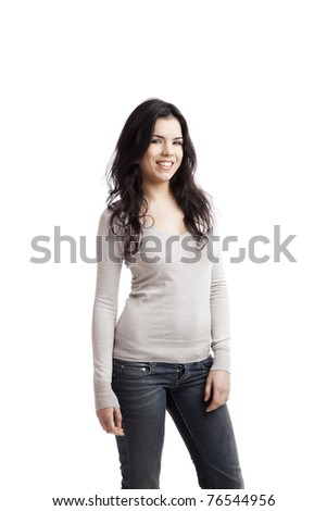 Portrait of a happy beautiful young woman standing over a white background - stock photo