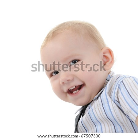 Portrait of a happy blue-eyed boy. Isolated on white background