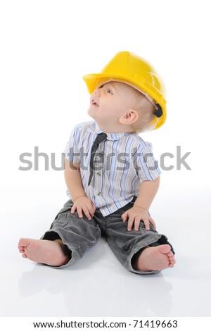 Portrait of a happy blue-eyed boy. Isolated on white background - stock photo