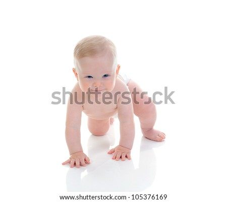 Portrait of a happy blue-eyed child boy. Isolated on white background