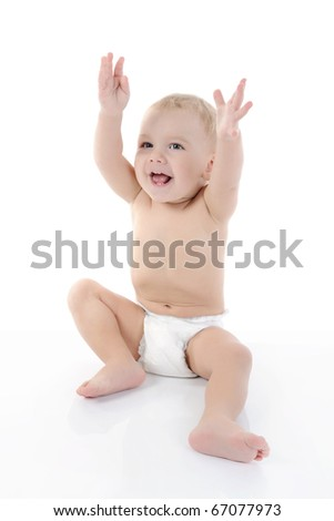 Portrait of a happy blue-eyed child. Isolated on white background - stock photo