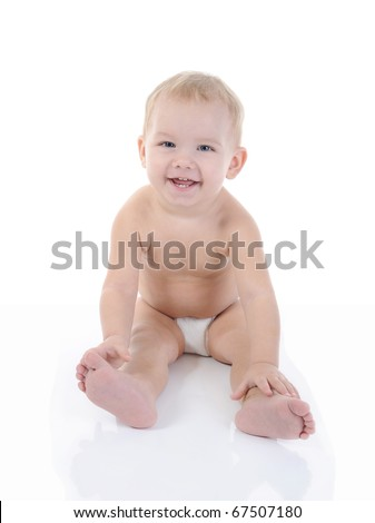 Portrait of a happy blue-eyed child. Isolated on white background