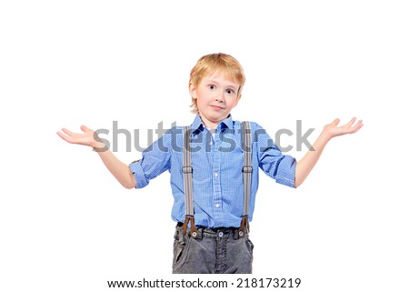 Portrait of a happy boy smiling at camera. Isolated over white. - stock photo