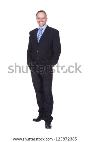 Portrait Of A Happy Business Man Isolated On White Background - stock photo