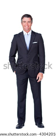 Portrait of a happy businessman against a white background - stock photo