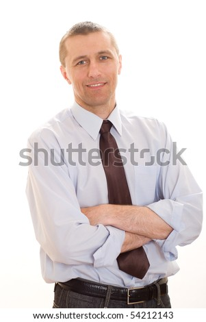 Portrait of a happy businessman on a white background - stock photo