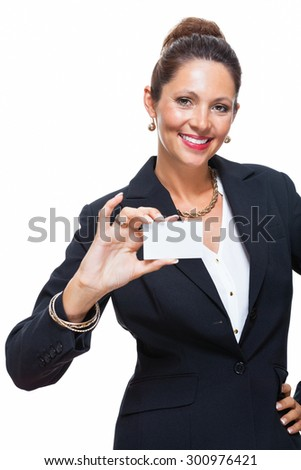 Portrait of a Happy Businesswoman Holding Small White Card with Copy Space, Isolated on White Background.