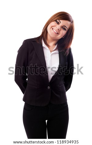 Portrait of a happy businesswoman isolated on white background - stock photo
