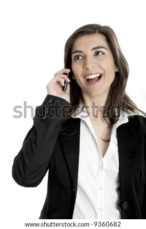 Portrait of a happy businesswoman talking on her mobile phone