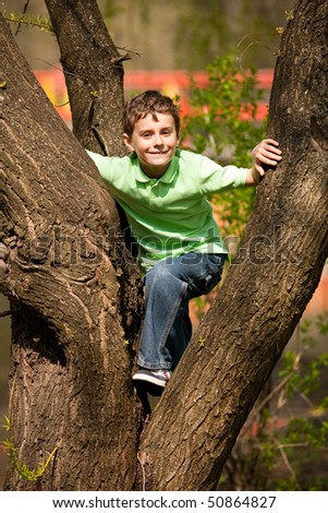 Portrait of a happy child climbing in a tree in a park - stock photo