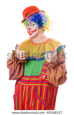 Portrait of a happy clown. Isolated on white